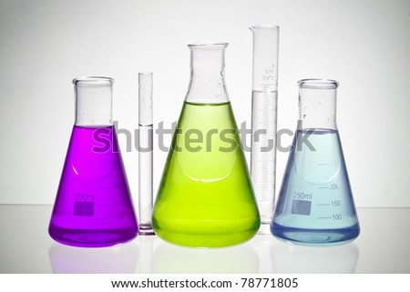 chemical laboratory glassware equipment with color liquid