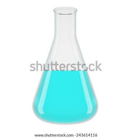 Chemical laboratory transparent flasks with blue liquid . High Resolution 3d