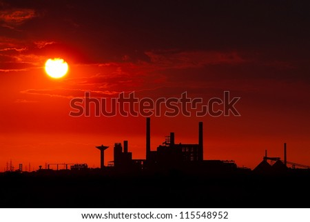 Chemical plant closed down in the sunset