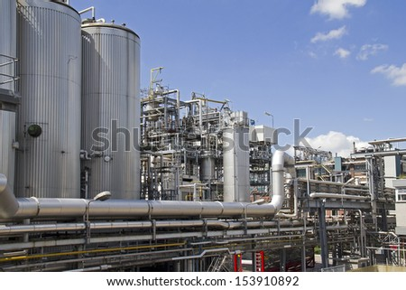 Chemical plant in Rotterdam industrial area - stock photo