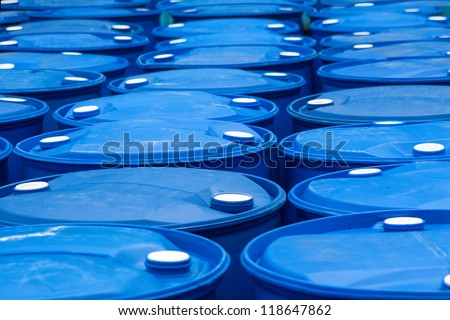 Chemical Plant, Plastic Storage Drums - stock photo