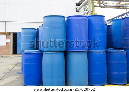 chemical plant plastic storage drums big blue barrels - Water Storage Barrels
