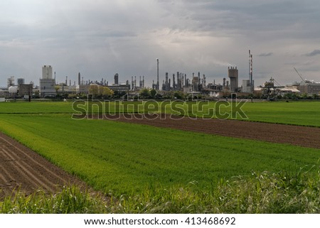 Chemical production plants in Ludwigshafen as seen from Mannheim in Germany.