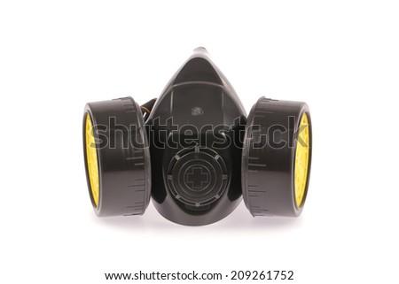 Chemical protective mask isolated on white background - stock photo