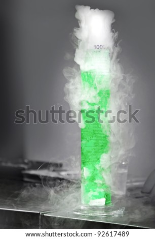 Chemical reaction between solid carbon and water - stock photo