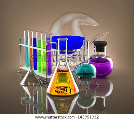 Chemical Reagents. Various chemical vessels with colored chemicals symbolize science - stock photo