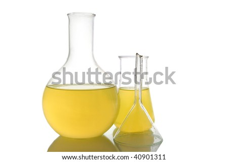 Chemical retorts on on white background