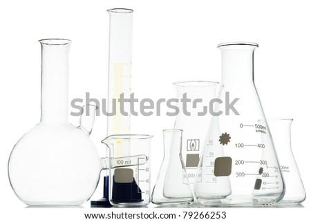 chemical retorts on white background - stock photo