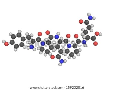 Chemical structure of gliadin, one of the principal allergens responsible for celiac disease - stock photo