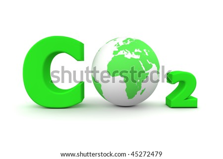 chemical symbol CO2 for carbon dioxide in green - a globe is replacing the letter o - stock photo