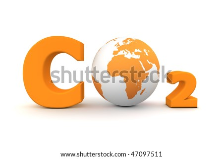 chemical symbol CO2 for carbon dioxide in orange - a globe is replacing the letter o - stock photo