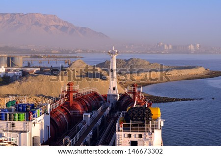 chemical tanker in the port - stock photo