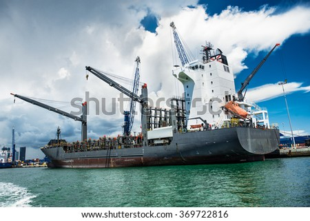 chemical tanker in the port of Miami for loading and bunkering operation