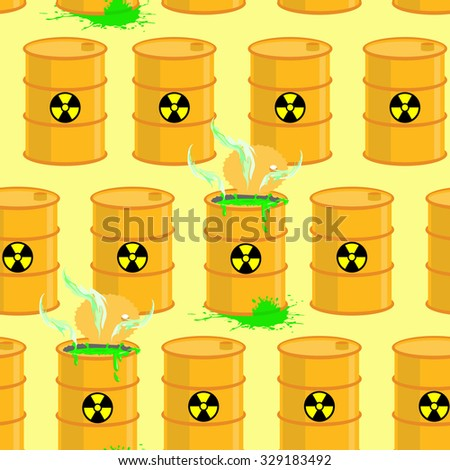 Chemical waste dump. Seamless pattern with barrels of biohazard.  background of yellow barrels of green acid.  - stock photo