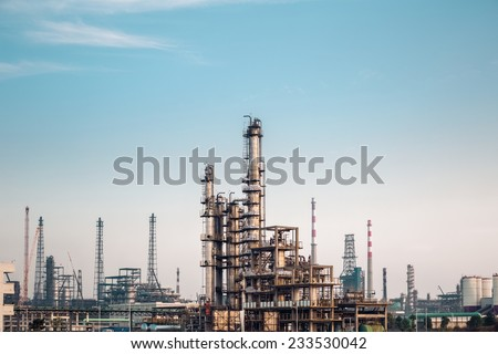 chemicals plant against a dusk sky , industrial landscape  - stock photo