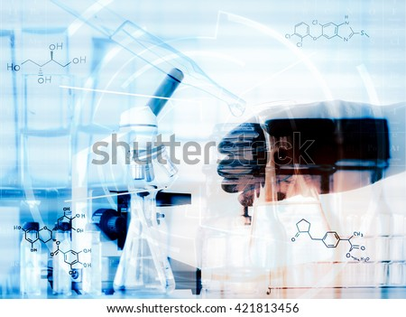chemist dropping the clear reagent into test tube for reaction testing in chemical laboratory, with chemical equations and periodic table background.Double exposure style - stock photo