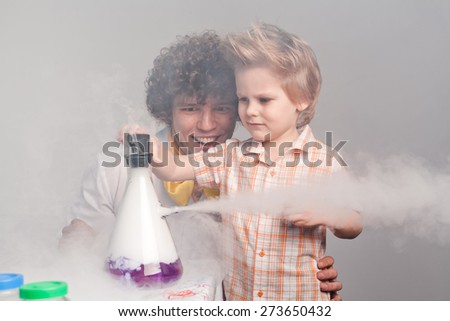 Chemistry. chemistry lesson. experiences. funny experiences - stock photo