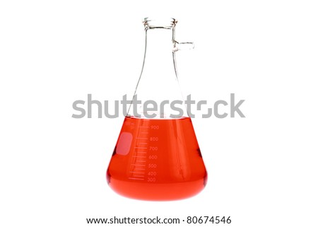 """Chemistry, Glass Ware, Science, Chemicals, Education, Medical, Pyrex, Equipment, Research, - A  """"Erlenmeyer Flask"""" filled with a bright orange chemical fluid isolated on white with room for your text. - stock photo"""