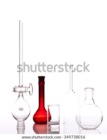 Chemistry glassware with white background. - stock photo