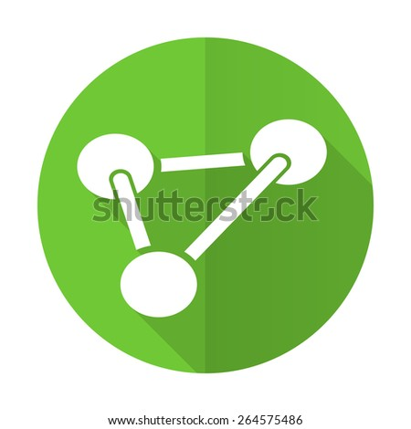 chemistry green flat icon molecule sign