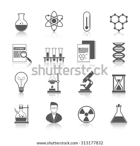 Chemistry icons black set with molecule structure microscope radiation warning sign isolated  illustration - stock photo