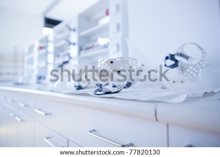 chemistry lab (shallow DOF; color toned image) - stock photo