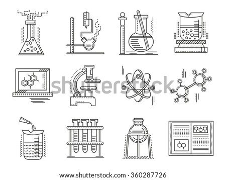 Chemistry objects and supplies. Set of thin flat line style science and education icons. Design symbols for website and business. - stock photo