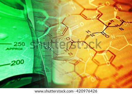 Chemistry science formula and tablets. Medicine symbol. - stock photo