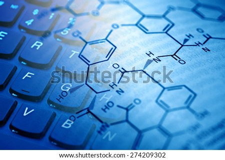 Chemistry science formula on book. Selective focus.  - stock photo