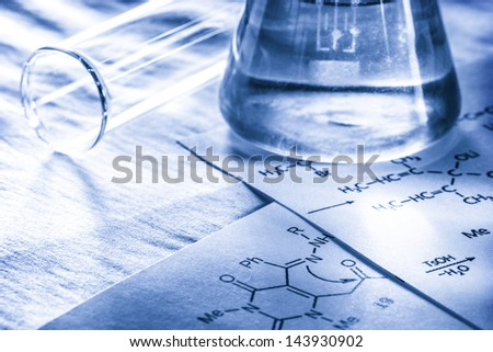 Chemistry with reaction formula in toning - stock photo