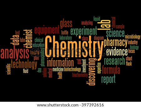 Chemistry, word cloud concept on black background.