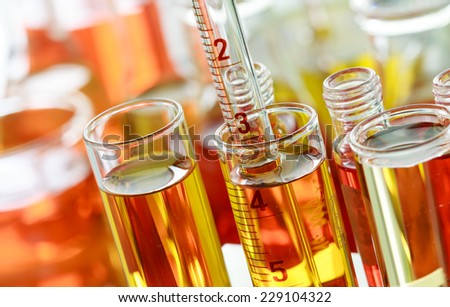 Chemists are working in a laboratory - stock photo