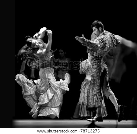CHENGDU, CHINA - DEC 28: Unidentified Spanish dancers perform the Flamenco Dance onstage at Jinchen Theater on Dec 28, 2008 in Chengdu, China. - stock photo