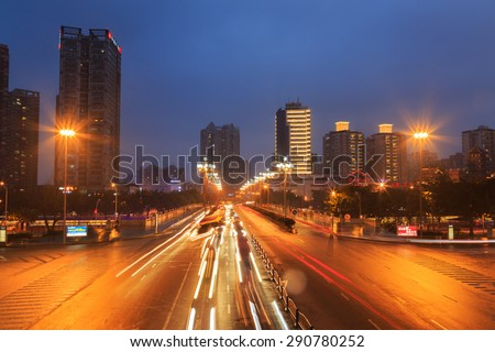 CHENGDU,CHINA - 31 Jan,2015:busy traffic at night at chengdu,china.