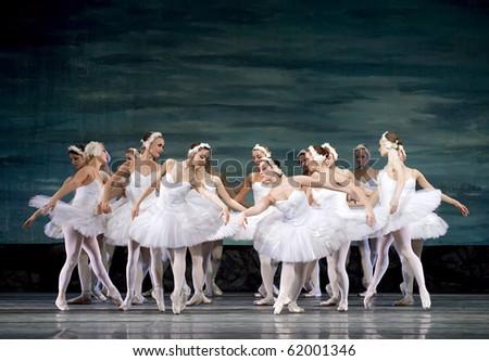CHENGDU - DEC 24: Swan Lake ballet perform by Russian royal ballet at Jinsha theater December 24, 2008 in Chengdu, China. - stock photo