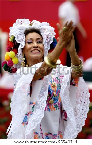 CHENGDU - MAY 23: Mexican dancer with castanets in the 1st International Festival of the Intangible Cultural Heritage China, on May 23, 2007 in Chengdu, China. - stock photo