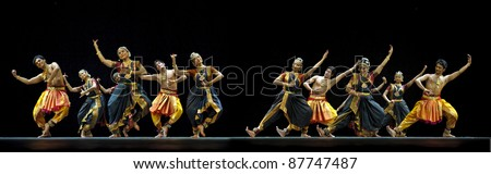 CHENGDU - OCT 24: Indian dancers perform folk dance onstage at JINCHENG theater during the festival of India in china on Oct 24,2010 in Chengdu, China. - stock photo