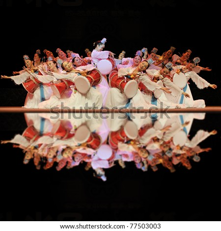 CHENGDU - SEP 28: Korean ethnic dancers perform on stage in the 6th Sichuan minority nationality culture festival at JINJIANG theater.Sep 28,2010 in Chengdu, China.