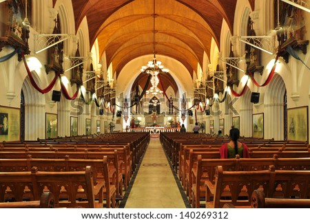 CHENNAI, INDIA - JANUARY 12, 2012: Interior of San Thome Basilica, built in the 16th century by Portuguese explorers, over the tomb of St. Thomas, an apostle of Jesus.