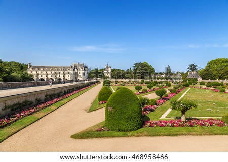 CHENONCEAU, FRANCE - JUL 23, 2015: View from the garden of Diana