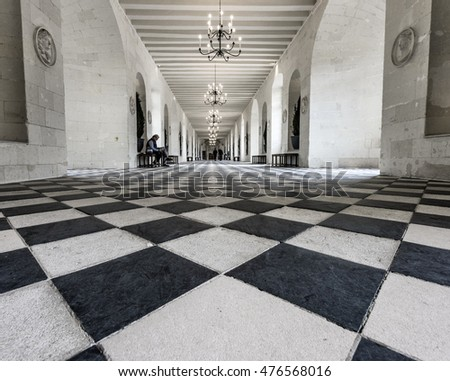 CHENONCEAU,FRANCE-JUNE 2016: Gallery dancing hall in Chenonceau castle