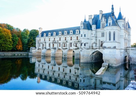 CHENONCEAU, FRANCE - OCT 22,2016 : Chateau de Chenonceau(Chenonceaux) royal medieval french castle, Loire Valley. An architectural mixture of late Gothic and early Renaissance.Unesco heritage site
