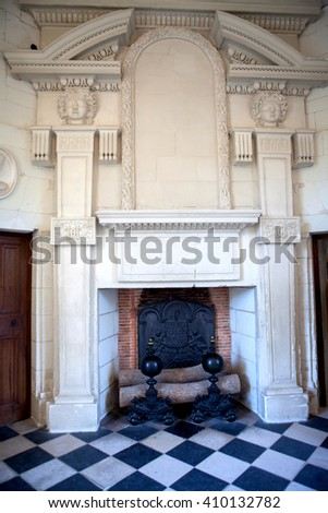 CHENONCEAUX, FRANCE - 29 AUGUST 2015:  Chateau de Chenonceaux royal medieval french castle at Loire Valley in France, Interior picture of castle furniture from the inside