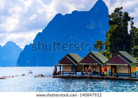 Cheo Lan lake. Khao Sok National Park. Thailand. - stock photo