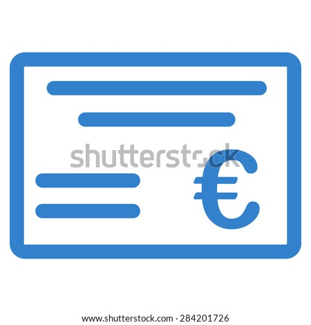 Cheque from BiColor Euro Banking Icon Set. Glyph style: flat, cobalt symbol, rounded angles, white background. - stock photo