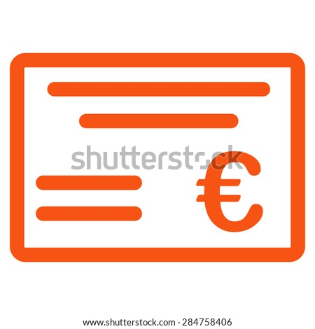 Cheque from BiColor Euro Banking Icon Set. Glyph style: flat, orange symbol, rounded angles, white background. - stock photo