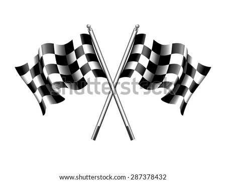 Chequered, Checkered Flags Motor Racing - Rippled black and white Crossed Chequered Flag - Raster Version - stock photo