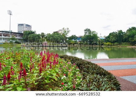 Cheras,Malaysia - June 27,2017 : Permaisuri Lake Garden is one of the famous park in Cheras, there is a pathway for people to jogging and exercise. It also known as Taman Tasik Permaisuri.