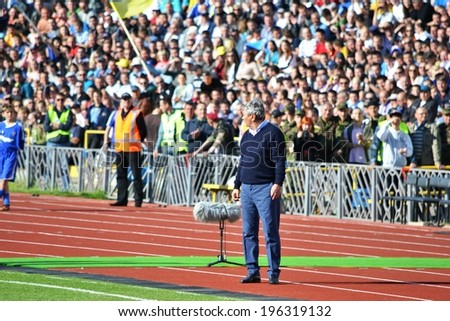 CHERKASSY, UKRAINE - MAY 7: Mircea Lucescu is at the edge during the semifinal match of the Cup of Ukraine on football between FC Slavutich - FC Shakhtar Donetsk, 7 May 2014, Cherkassy, Ukraine