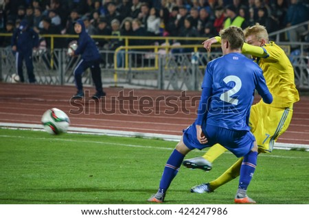 CHERKASSY, UKRAINE - OCT 08: Adam Orn Arnarson (L) in action during the qualifying round of Euro-2017 national team Ukraine U21 vs Iceland U21, 08 October 2015, Cherkassy, Ukraine
